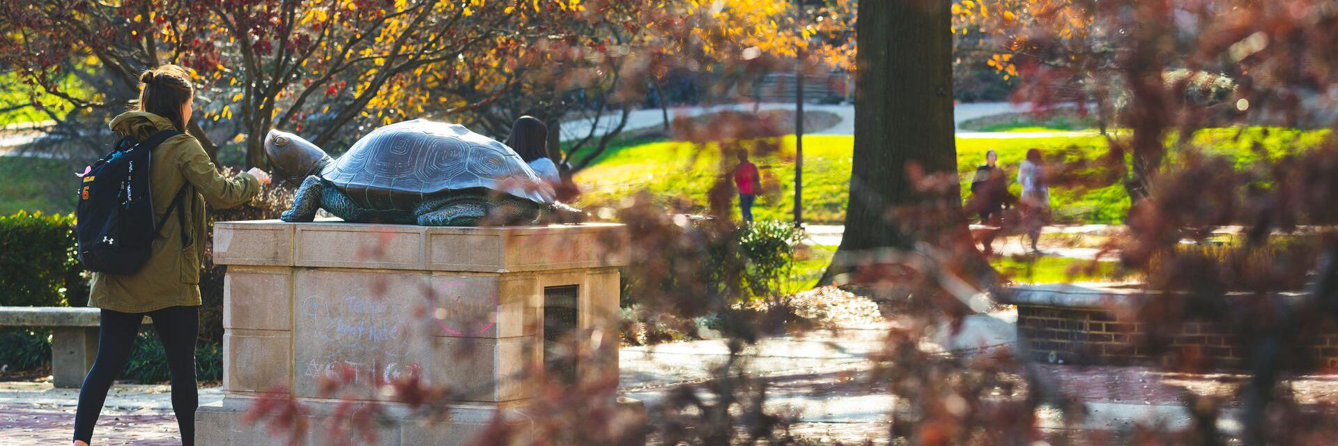 Testudo statue in fall with female student walking by